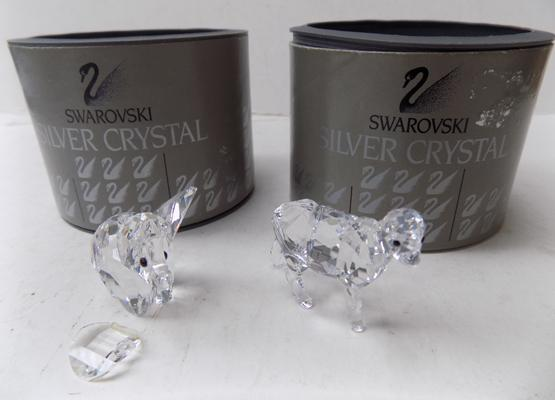 Swarovski goat and elephant with loose ear