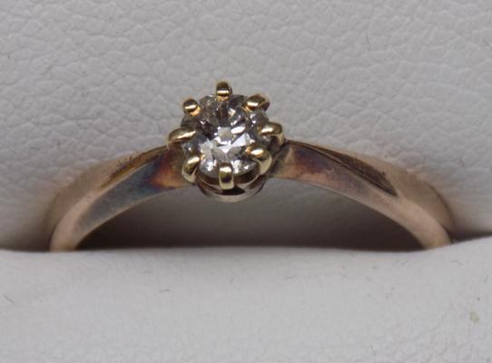 9ct gold solitaire ring-approx. N1/2 - approx. 2.5 grams