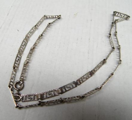 "925 silver necklace, 18"" long, Greek/Roman key pattern"