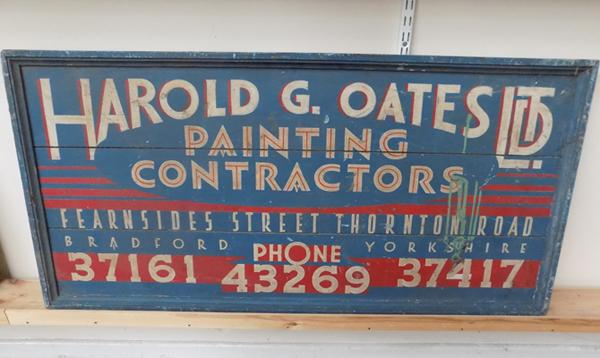 "Large wooden painters sign (size 25"" x 49"")"