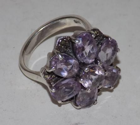 Large silver & amethyst ring