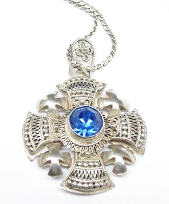 "Heavy solid silver 950 Jerusalem pendant on a 23"" serpent chain, set with blue stone"