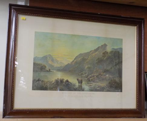 Vintage framed print 'Evening in the Highlands'