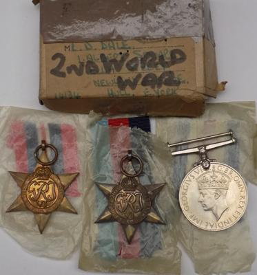 Set of 3 WW2 medals - France and German star 1939 to 1945 and 1939 to 1945 defence medal-in box