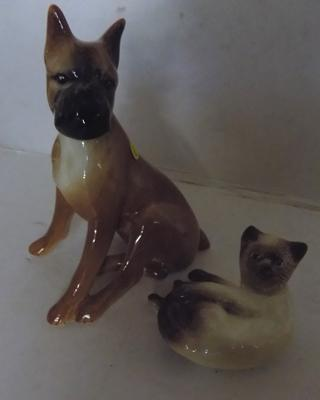Sylvac Boxer No209 and Siamese kitten No103