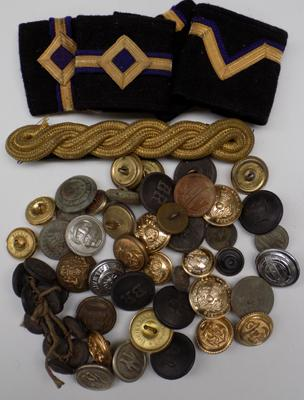 Selection of military buttons and patches