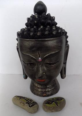 Buddha head & 2 detailed stones with religous markings