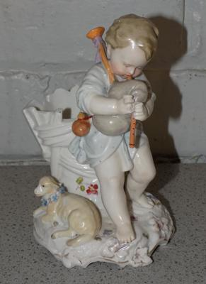Vintage porcelain figure - playing the bagpipes with maker's under stamp