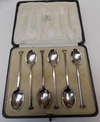 Cased set - 6 solid silver spoons - Mapin - Webb, London, hallmarked Sheffield 1922