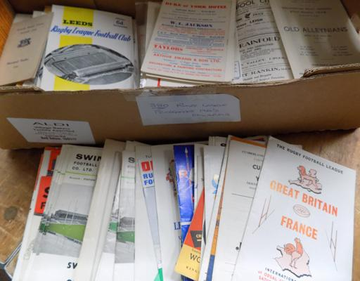 Box of approx 380 Rugby programmes 1960's onwards