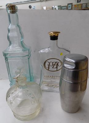 2no. glass bottles, glass decanter and shaker