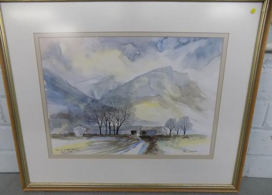 "Alan Chapman watercolour ""Farm at Wasdale and Great Gable"" 23"" X 16"""