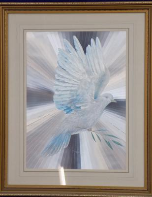 Framed picture of dove flying
