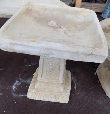 "Stone classico square rose bird bath, approx. 18"" high"