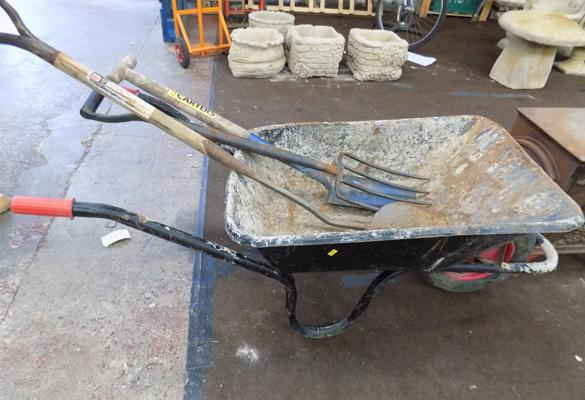 Wheelbarrow, post spades & garden fork/peat lifter