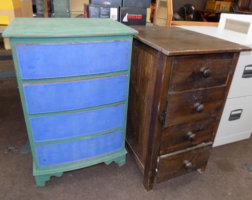 2 small sets of drawers