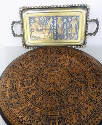 Large detailed copper plate & detailed brass tray