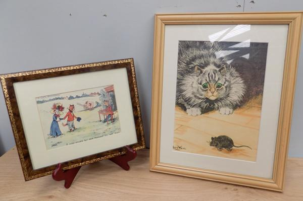2 Louis Wain cat prints