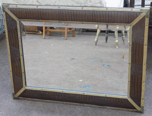Large leather and brass framed mirror