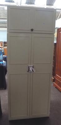 Double wardrobe with top cupboard-cream