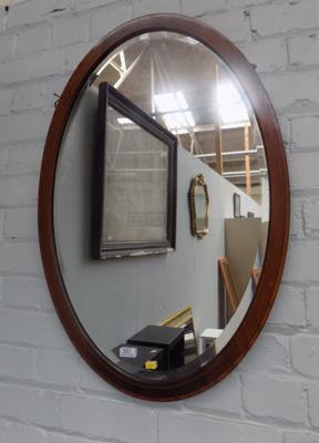Round wooden inlaid mirror
