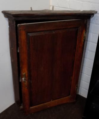 Vintage Oak wall mounted cupboard with decorative shelves