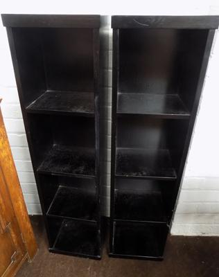 2x Black shelf units