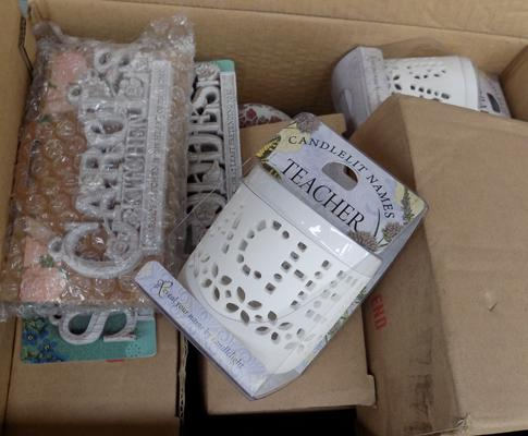 Box of new candles etc.