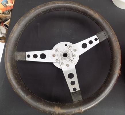Vintage car steering wheel - good wall hanger