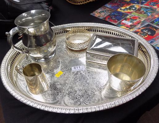 Tray of Pewter and metalware etc