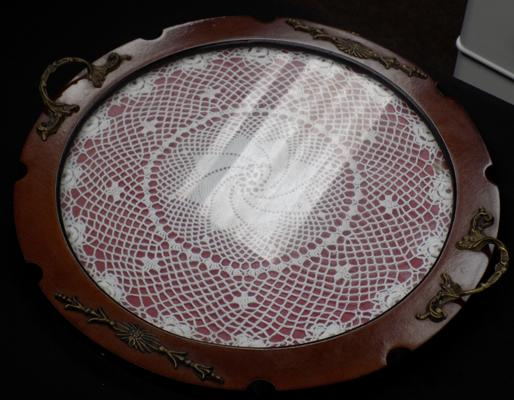 Vintage wooden tray with lace inlay