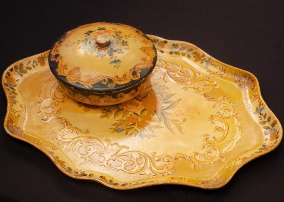 Papier mache serving tray and papiermache poperie - both in used but good condition
