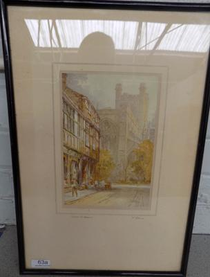 "Chester Cathedral print framed - signed   Size 12"" x 18"""