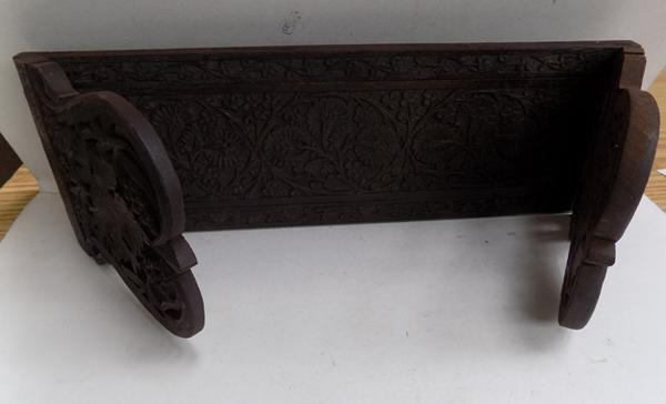 Beautifully decorated antique oak sliding book stand-no damage
