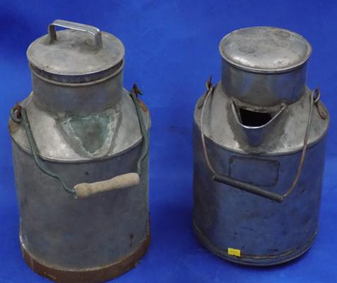 Two milk churns, aluminium