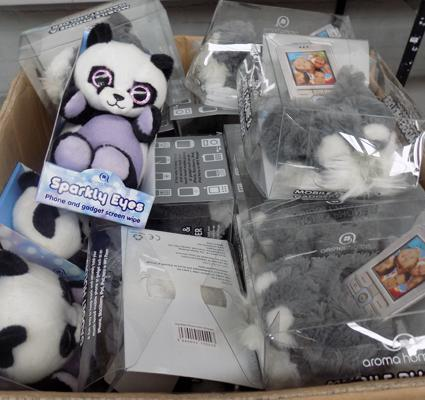 Box of teddy phone holders and wipes