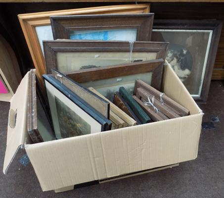 Selection of vintage frames & framed pictures