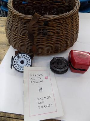 Selection of Hardy & Morritts fly reels & Hardy book-First edition