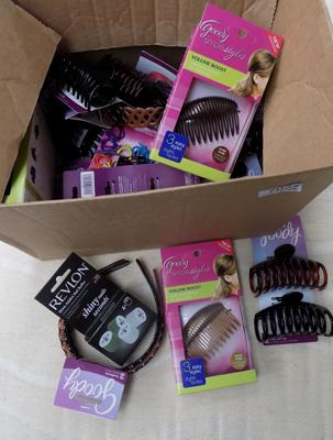 Box of assorted hair accessories