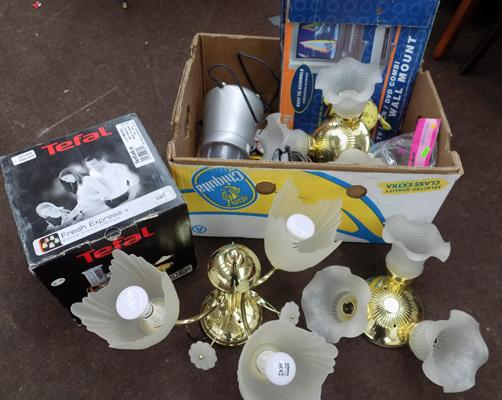 Box of mixed items inc light fittings