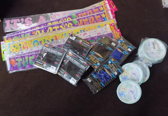 Box of party decorations inc banners