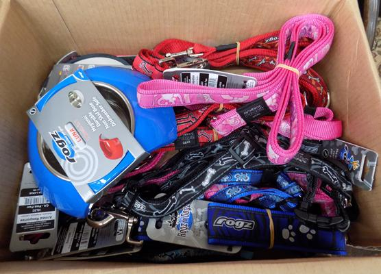 Box of dog leads & accessories