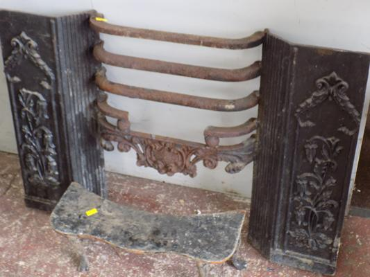 Cast iron fireplace surround & base