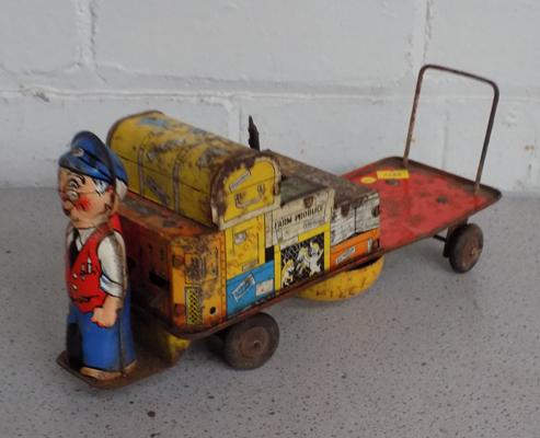 Vintage clockwork luggage porter & trolley (as seen)