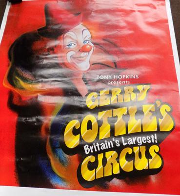 Large Gerry Cottles clown circus poster