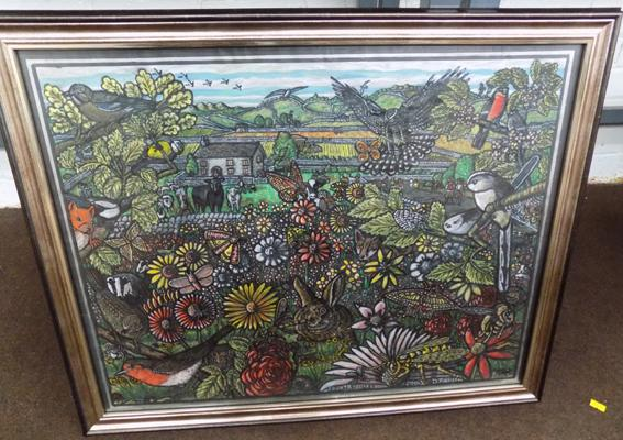 "Framed painting 'Country Life'  with over 65 animals. By D Johnson 2014 23.5"" x 28.5"""