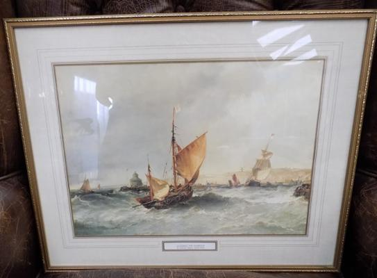 Print of ships entering the harbour - Edwin Hayes 1820 - 1904