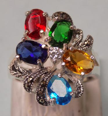 Silver and multi-stone ring