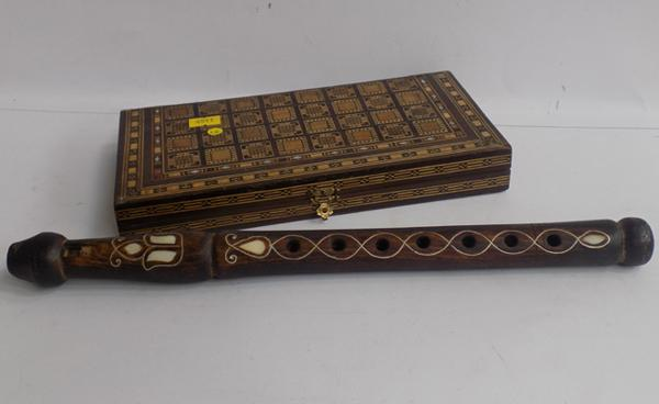 Mother of pearl inlaid chess set & wooden flute