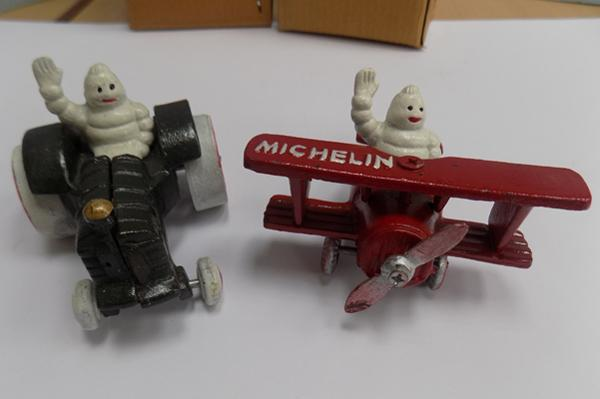 Michelin man on tractor - 7cm x 11cm and Michelin man in plane - 7cm x11cm
